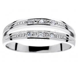 Ciekawy, podwójny pierścionek z białego złota z brylantami 0.05 ct