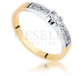 Luksusowy pierścionek zaręczynowy z dwukolorowego złota z 7 brylantami o masie 0,18 ct