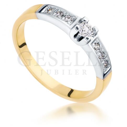 Luksusowy pierścionek zaręczynowy z dwukolorowego złota z 7 brylantami o masie 0.18 ct
