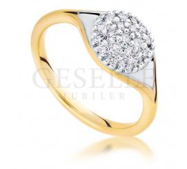 Luksusowy pierścionek z 14-karatowego złota z 20 brylantami o łącznej masie 0.30 ct