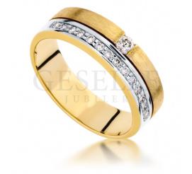 Wyjątkowy, efektowny pierścionek - żółte złoto i 15 brylantów o łącznej masie 0.21 ct
