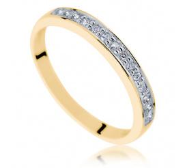 Złoty pierścionek - obrączka Eternity z brylantami o łącznej masie 0.14 ct