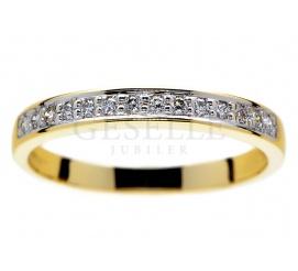 Złoty pierścionek - obrączka Eternity z brylantami o łącznej masie 0,14 ct