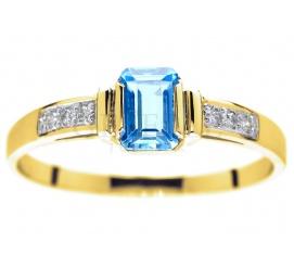 Oryginalny pierścionek zaręczynowy z żółtego złota z topazem blue i brylantami 0.06 ct, hit