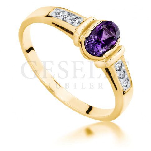 Niesamowity Złoty Pierścionek Zaręczynowy Z Fioletowym Ametystem I