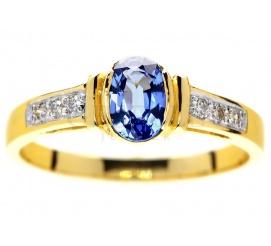 Złoty pierścionek na zaręczyny z granatowym szafirem najwyższej jakości Ceylon i brylantami