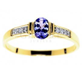 Niebanalny, złoty pierścionek zaręczynowy z przepięknym tanzanitem i sześcioma brylantami