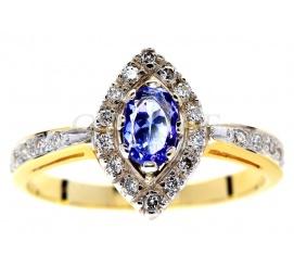 Wyjątkowy, złoty pierścionek z rzadkim tanzanitem i brylantami