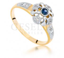 Złoty pierścionek retro - z niebieskim szafirem i brylantami 0.06 ct