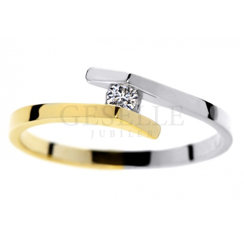 Oryginalny pierścionek zaręczynowy z dwukolorowego złota z brylantem o masie 0.05 ct