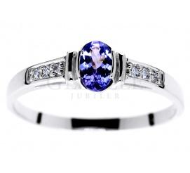 Vintage pierścionek zaręczynowy z białego złota z tanzanitem i brylantami