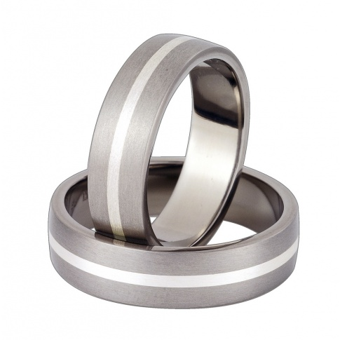 Komplet obrączek z tytanu i srebra próby 925 - delikatny i klasyczny styl