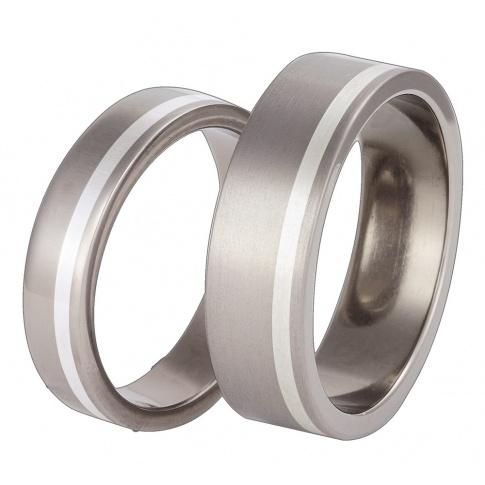 Klasyczny komplet obrączek z lekkiego tytanu i lśniącego srebra