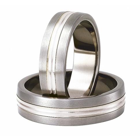 Pełen elegancji lekki komplet obrączek ślubnych z tytanu i lśniącego srebra pr. 925