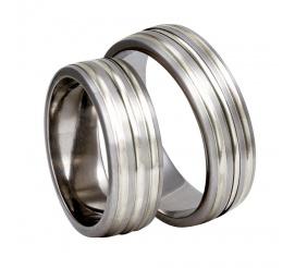 Szeroki komplet tytanowych obrączek ślubnych ze srebrnymi detalami