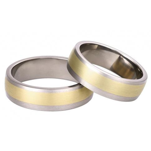 Tytanowa para obrączek ślubnych z detalami z żółtego złota