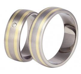 Elegancki komplet tytanowych obrączek ślubnych z dwiema liniami z żółtego złota