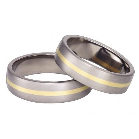 Pełne prostoty dwubarwne obrączki ślubne z srebrzystego tytanu i żółtego kruszcu