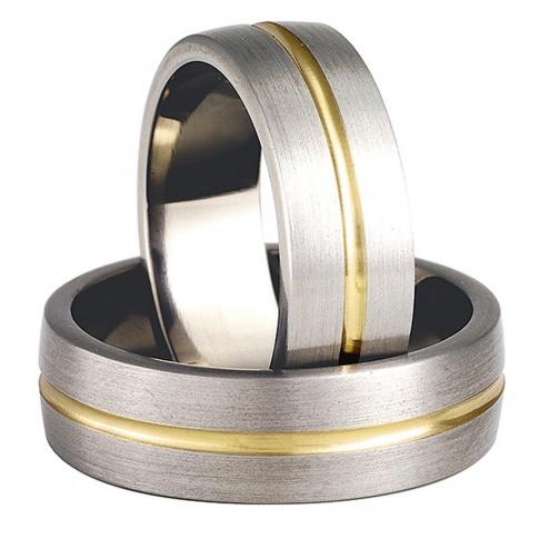 Stylowe obrączki ślubne z antyalergicznego tytanu i pełnego blasku złota