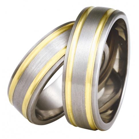 Popularne obrączki ślubne z szarego tytanu i żółtego złota