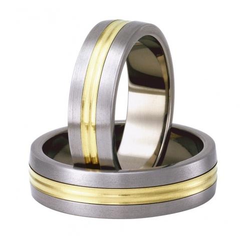 Pełne stylu i elegancji obrączki z tytanu i żółtego złota