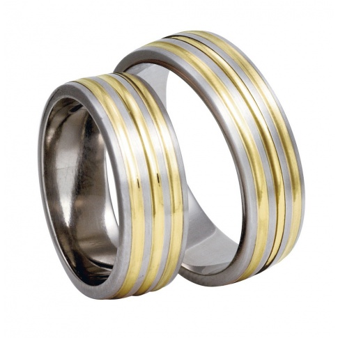 Szerokie obrączki ślubne z tytanu i żółtego złota