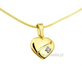 Zawieszka - serduszko z żółtego złota z cyrkonią
