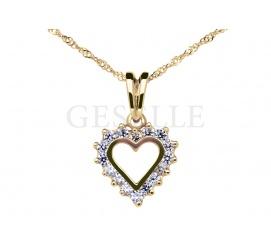 Zawieszka serce z żółtego złota pr. 585 z cyrkoniami - doskonały prezent na Walentynki!