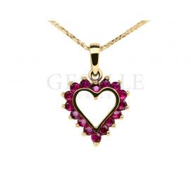 Walentynkowe, złote serduszko z cyrkoniami w delikatnym, różowym kolorze