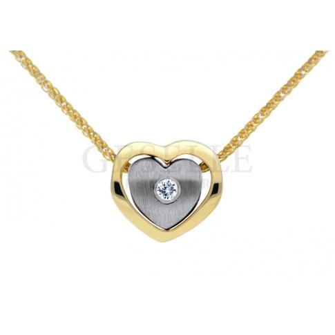 Złota zawieszka - serce z dwukolorowego złota z brylantem 0,02 karata GRAWER W PREZENCIE