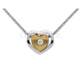 Oryginalna złota zawieszka serce - dwukolorowe serduszko z brylantem 0,02 karata GRAWER W PREZENCIE