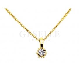 Klasyczna złota zawieszka z brylantem 0,06 ct  - idealny pomysł na prezent!