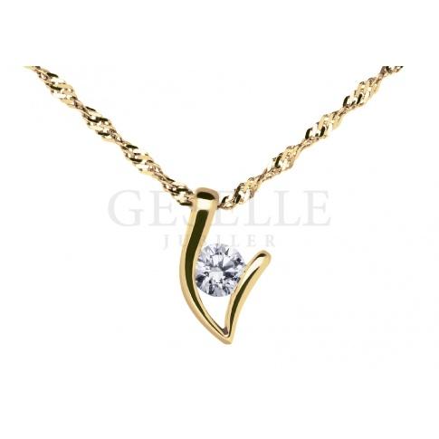 Elegancka zawieszka z żółtego złota pr. 585 z cyrkonią - doskonały pomysł na prezent!