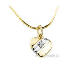 Zawieszka - serduszko z żółtego i białego złota z cyrkonią