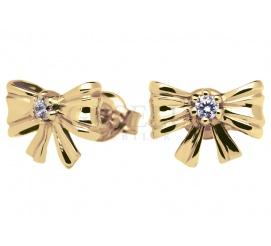 Śliczne kolczyki z żółtego złota pr. 585 w kształcie kokardek z lśniącą cyrkonią