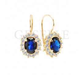 Eleganckie kolczyki z żółtego złota z karmazycją cyrkonii - ponadczasowy styl Kate Middleton