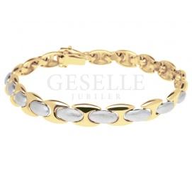 Piękna, kobieca bransoleta z białego i żółtego złota 14K - lśniący prezent z kolekcji GESELLE Jubiler