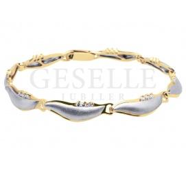 Fantazyjna bransoleta z białego i żółtego złota pr. 585 (14K) z cyrkoniami