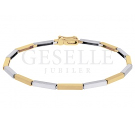 Dwukolorowa, elegancka bransoletka z żółtego i białego złota pr. 585 - prezent dla stylowej kobiety