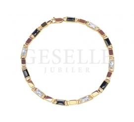 Elegancka, pełna bransoleta z żółtego złota próby 585 z lśniącymi, czarnymi i białymi cyrkoniami