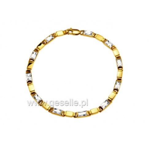Lśniąca bransoletka ze złota 14K z cyrkoniami - kobieca ozdoba na prezent