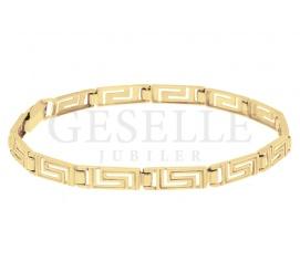 Klasyczna bransoleta z żółtego złota pr. 585 z ponadczasowym, greckim wzorem na prezent