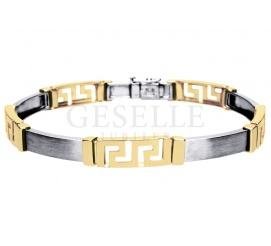 Efektowna bransoleta w grecki wzór z białego i żółtego złota 14K - doskonała na prezent!