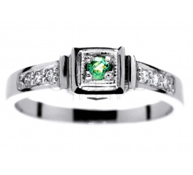 Pierścionek zaręczynowy w stylu retro - białe złoto, szmaragd i brylanty 0,06 ct