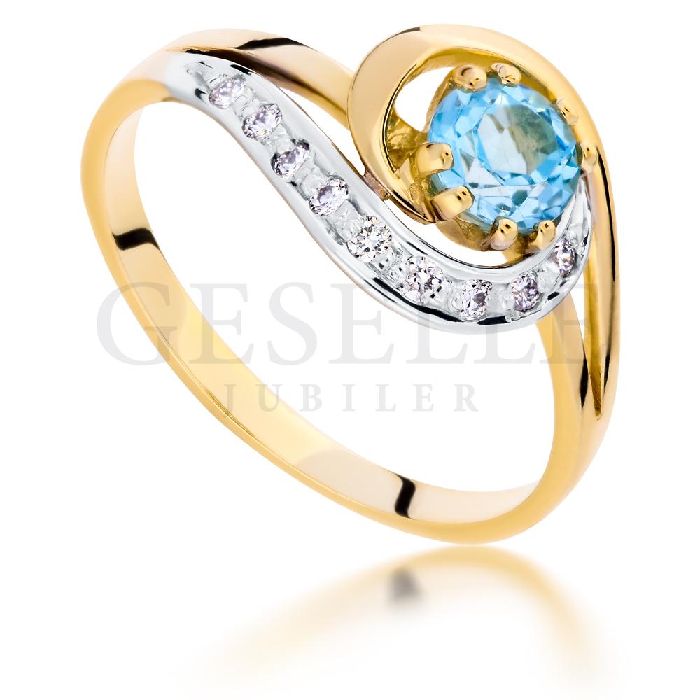 Nowoczesny Pierścionek Zaręczynowy Z Modnym Topazem Swiss Blue I