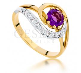 Wyjątkowy, złoty pierścionek z fioletowym ametystem i brylantami o masie 0,09 ct