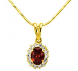 Elegancka i ponadczasowa zawieszka z żółtego złota z owalną cyrkonią w kolorze głębokiej czerwieni