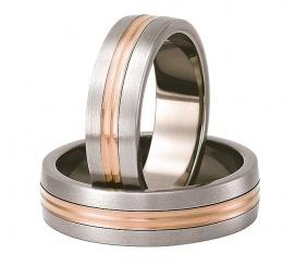 Lekkie obrączki ślubne z tytanu z delikatną linią z czerwonego złota 14K