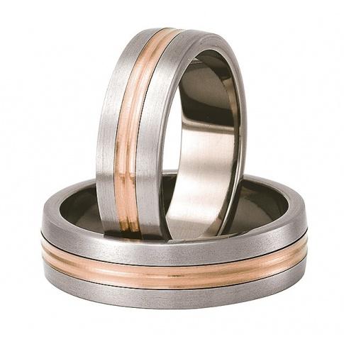Lekkie obrączki ślubne z tytanu z delikatną linią z czerwonego złota