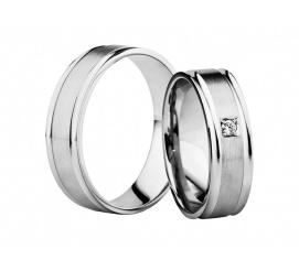 Subtelna para obrączek ślubnych z białego kruszcu 14K z kolekcji Secret